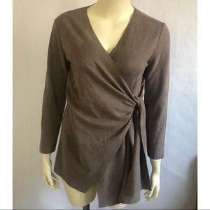 Like New: Lightweight Faux Suede Wrap Top